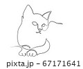 One line drawing of the cat in modern minimalistic style, Single line draw graphic design illustration 67171641