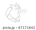 One line drawing of the cat in modern minimalistic style, Single line draw graphic design illustration 67171642
