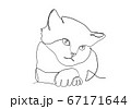 One line drawing of the cat in modern minimalistic style, Single line draw graphic design illustration 67171644