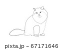 One line drawing of the cat in modern minimalistic style, Single line draw graphic design illustration 67171646