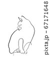 One line drawing of the cat in modern minimalistic style, Single line draw graphic design illustration 67171648