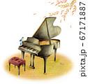 秋の紅葉の中の黒いピアノと青い鳥 67171887