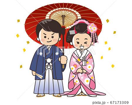 和装の新郎新婦 紋付袴 色打掛 結婚式 67173309