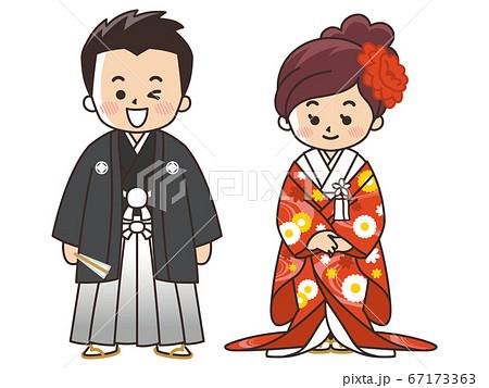 和装の新郎新婦 紋付袴 色打掛 結婚式 67173363