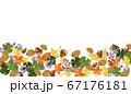 紅葉とドングリとノブドウの秋フレーム 67176181