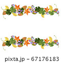 水彩の紅葉とノブドウの秋フレーム 67176183