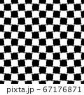 歪んだチェッカー柄、シンプルな4色グレースケールのシームレス柄 67176871