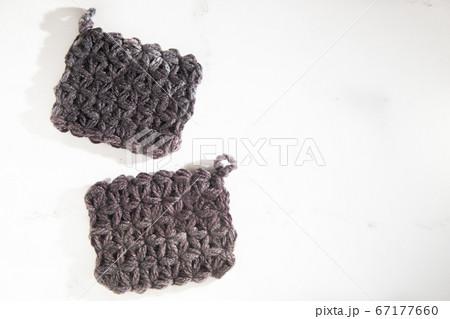 リフ編み・鍵網された手作りアクリルたわし、エコたわし 67177660