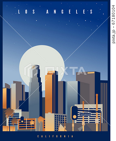 Los Angeles skyline with a big full moon and starry sky in the background 67180104