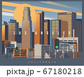 Cityscape of Los Angeles during the golden hour, vector illustration 67180218