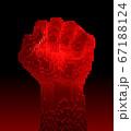 Red-Hot Fist Upward Consisting Of 3D Pixels 67188124