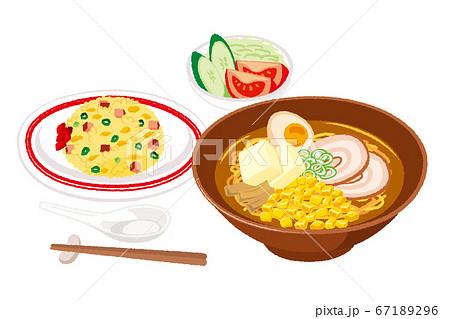 味噌ラーメンとチャーハンのセットのイラスト 67189296
