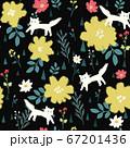 花と猫のパターン 67201436