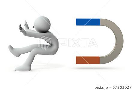 磁石に引き寄せられる人物。3Dレンダリング 67203027