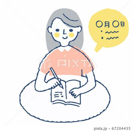 メモ帳に記入する女性 67204435