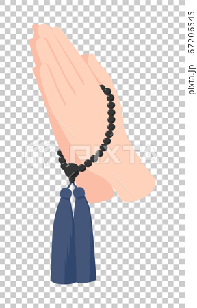 An illustration of a Gassho with two beads in both hands. 67206545