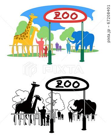 動物園-カラーとモノクロ 67208401