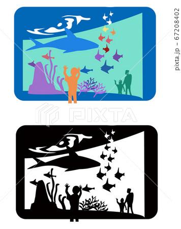 水族館-カラーとモノクロ 67208402