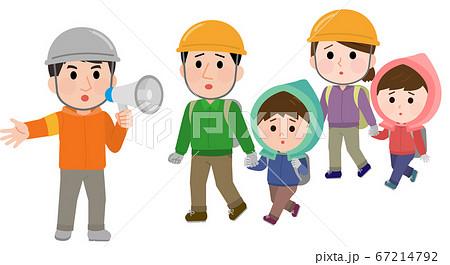 災害で避難する家族 誘導される イラスト 67214792