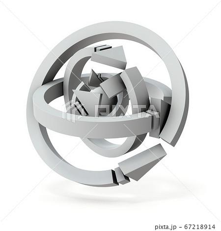 球体を取り囲む複数の矢印。3Dレンダリング。 67218914