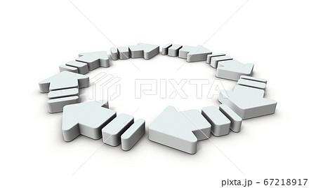 リング状につらななった沢山の矢印。3Dレンダリング。 67218917