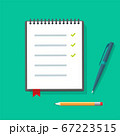 Diary paper notepad or notebook vector flat illustration with to do check list and pen pencils on table desk, checklist with checkmarks notes on spiral sheet page 67223515