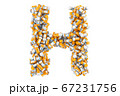Letter H from medical bottles with drugs 67231756