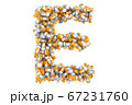 Letter E from medical bottles with drugs 67231760