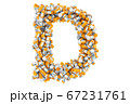 Letter D from medical bottles with drugs 67231761
