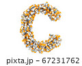 Letter C from medical bottles with drugs 67231762