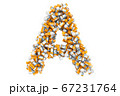 Letter A from medical bottles with drugs 67231764