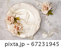 Table setting with floral decor 67231945