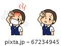 マスク熱中症の中年の事務員さん 67234945