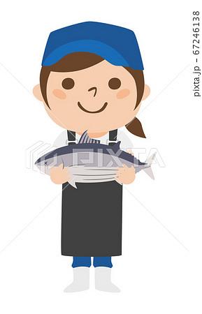 笑顔でカツオを持っている女性の魚屋さんのイラスト。 67246138