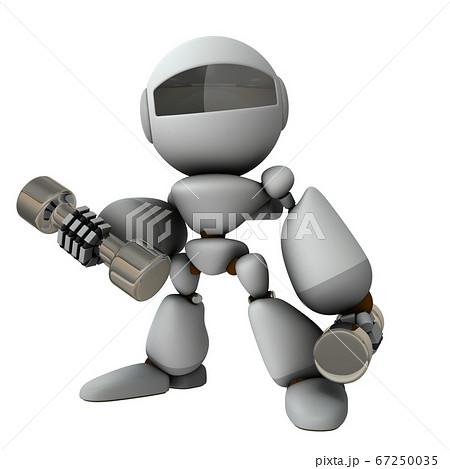 ダンベルを使って運動するロボット。3Dイラスト。 67250035
