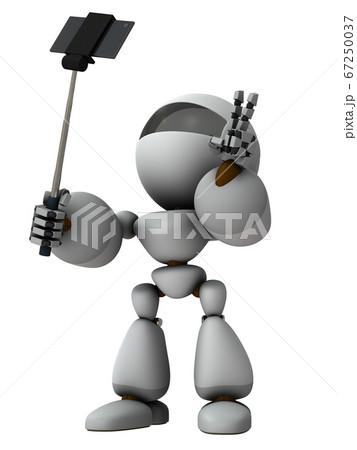 自撮を楽しむ人工知能のロボット。3Dレンダリング。 67250037