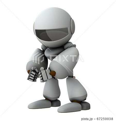 悪事を企てる人工知能のロボット。3Dレンダリング。 67250038