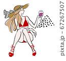 パリジェンヌ ワイン 水着 帽子 ベクター 67267507
