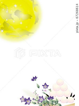 月見の団子と桔梗の花とススキの花束に大きな月のイラストワイドバーチャル背景素材縦長 67268614