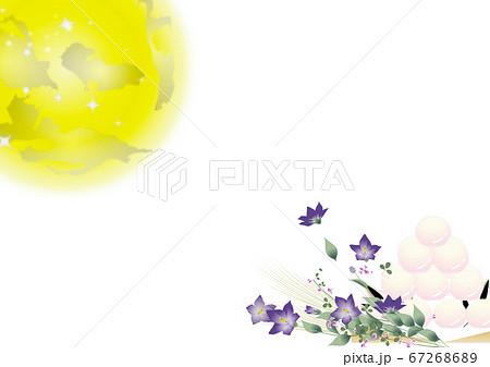 月見の団子と桔梗の花とススキの花束に大きな月のイラストワイドバーチャル背景素材縦長 67268689