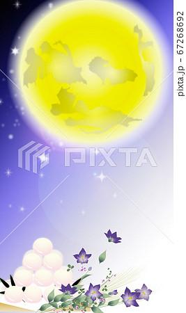 月見の団子と桔梗の花とススキの花束に大きな月のイラストワイドバーチャル背景素材縦長 67268692