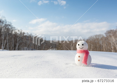 冬晴れの雪原とシンプルな雪だるま 67273316