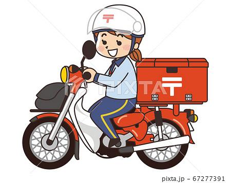 郵便局員の女性がバイクで郵便配達 67277391