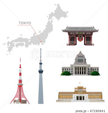 東京の観光地の建物 素材イラスト 67280841