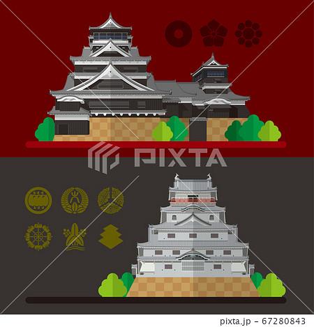 日本の城 熊本城と唐津城の素材イラスト 67280843