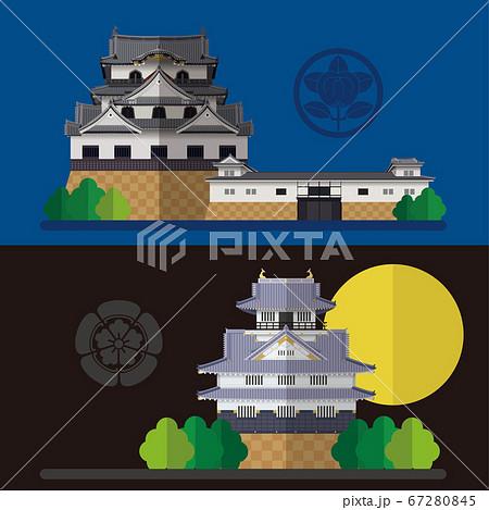 日本の城 彦根城と岐阜城の素材イラスト 67280845