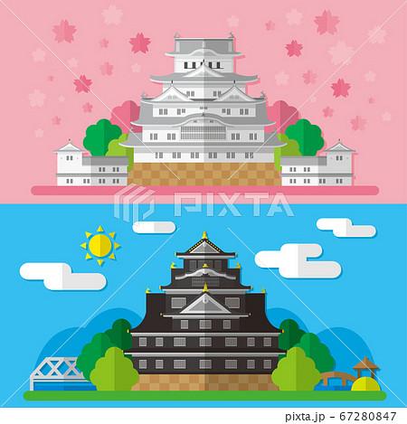 日本の城 姫路城と岡山城の素材イラスト 67280847
