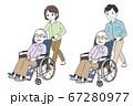 文句を言う高齢男性と介護する家族 67280977