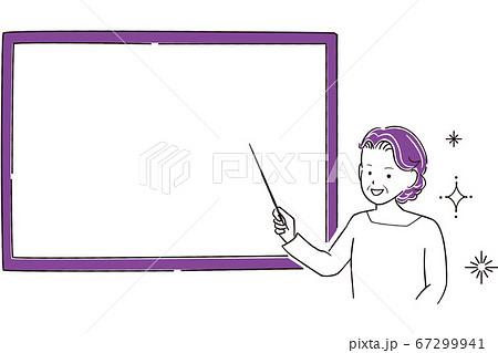 手描き1color シニアのパーマをかけた女性 発表 67299941