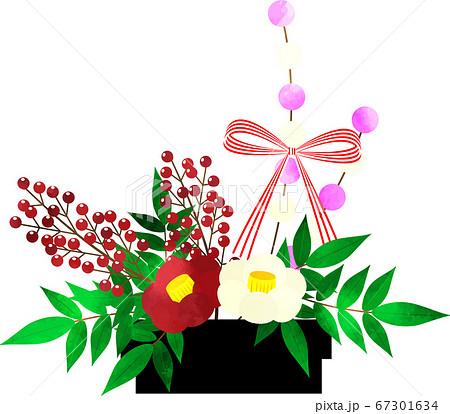 お正月素材 椿と南天の生け花 フラワーアレンジメント 水彩風 67301634